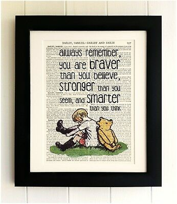 ART PRINT ON OLD ANTIQUE BOOK PAGE *FRAMED* Winnie the Pooh, Bear Quote, Robin