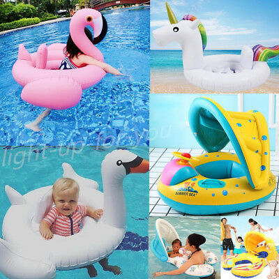 Unicorn/Flamingo/Baby Mother Kid Sunshield Swimming Seat Ring Inflatable Pool UK