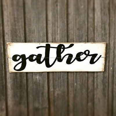 GATHER - Rustic Vintage Style Timber Sign L60cm x H20cm