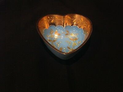 Antique French Blue Opaline Glass Heart Shaped Dish