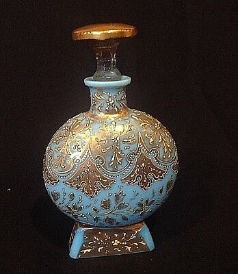 Antique French Blue Opaline Glass Perfume Bottle