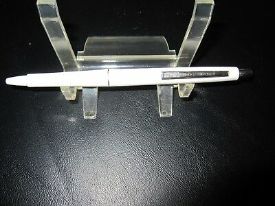Vintage Paper Mate Papermate WHITE Chrome Ballpoint Pen Double Heart