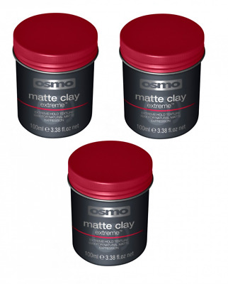 Osmo Matte CLAY  Extreme  - 3 x 100ml - Mens Grooming Max Hold Natural Matte