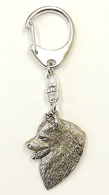 Samoyed Head Silver Keyring