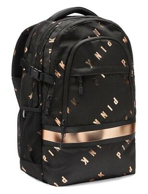 Victorias Secret PINK COLLEGIATE BACKPACK Pure Black / ROSE GOLD - BRAND NEW