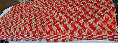 Tablecloth Runner RED & METALLIC GOLD EMBROIDERED THREAD SCALLOP HEM 48 X 84