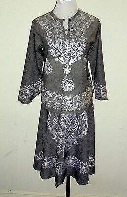 """Vintage Pakistan Indian Hippie Embroidered Tunic Top / Wrap Skirt S/M 36"""" Bust"""