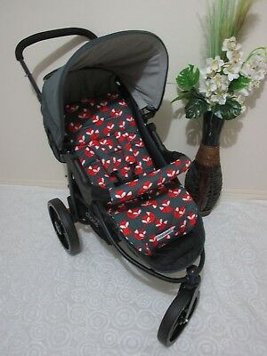 Handmade pram liner set-Baby foxes-100% cotton*Funky babyz