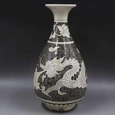 Great Chinese Antique Magnetic State Kiln Porcelain Dragon Vase
