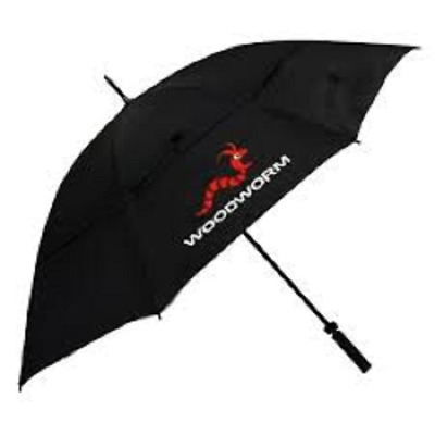 "New Woodworm Windproof 60"" Double Canopy Golf Umbrella - Black"