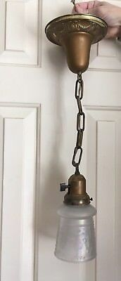 Antique Brass Pendant Ceiling Light Fixture Frosted  Glass Shade Fat Boy Paddle