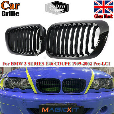 1Pair For BMW 1998-2001 E46 3-Series 2Door Gloss Black Front Kidney Grille Grill