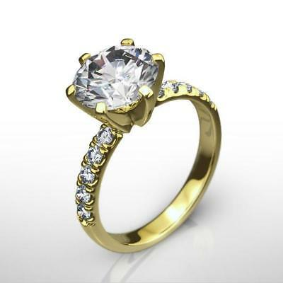 Estate Awesome Si1 D 18K Yellow Gold Round Diamond Ring Genuine 2 Ct Certified