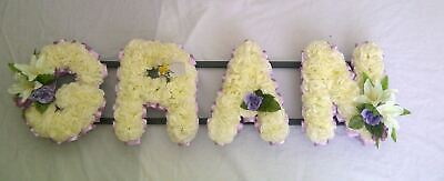 Gran Artificial Silk Funeral Flower 4 Letter Name Wreath Tribute Mama Aunt