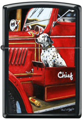 """American Firefighter """"The Chief's Dog"""" by Paul Walsh Black Matte Zippo Lighter"""