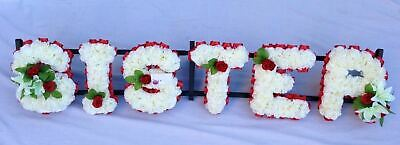 Sister Silk Funeral Flower Artificial Any 6 Letter Name Wreath Tribute Memorial
