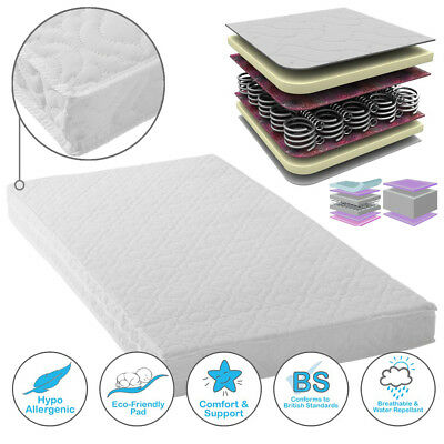 Toddler Cot Bed Spring Mattress  Breathable Quilted Waterproof Mattres Cover