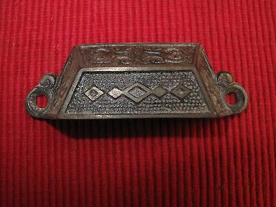 Antique Cast Iron Victorian Ornate Drawer Pull Handle Diamonds A9 Pat Date 1873