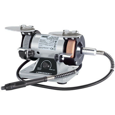 Draper 75mm Mini Bench Grinder with Flexible Drive Shaft and Box of Accessories