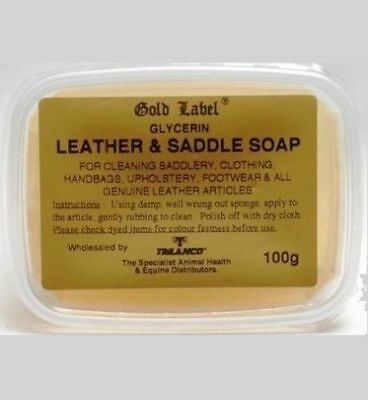Gold Label Glycerin Leather & Saddle Soap 100 GM Cleaning Saddlery Horse Groming
