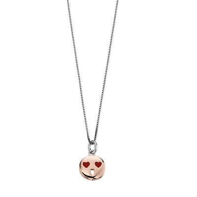 D For Diamond Rose Gold Red Heart Eyes Face Pendant #P4423