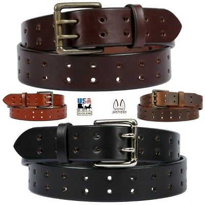 """Handmade Double O-Ring Leather Belt Heavy Duty 1 1//4/"""" Inch Wide Mens//Womens NEW"""