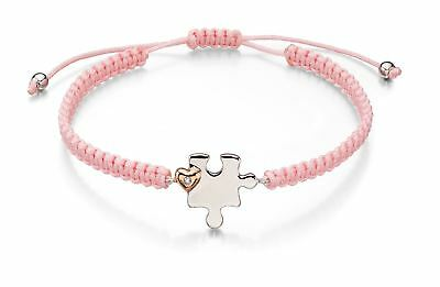D For Diamond - Mother & child jigsaw pink macrame bracelet