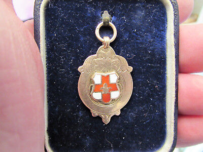 "9ct Gold ""Isle of Axholme"" 1920-21 F.A. Cup Medal/Fob -Lincoln Enamelled Crest"