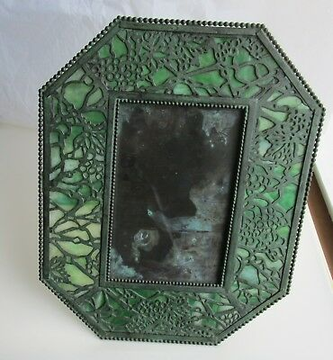 Art Nouveau Bronze Slag Glass Octagon shaped Picture Frame