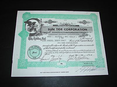 1970 Sun Tide Corporation Salt Lake City Utah Stock Certificate Vintage Nice