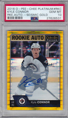 2016-17 Opc Platinum Kyle Connor Rc 4/25 Seismic Gold Auto Psa 10 Rookie #R-Kc