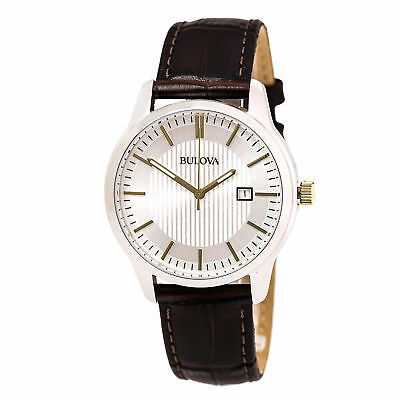 Bulova 98B266 Men's Dress Silver-Tone Dial Brown Leather Band Quartz Date Watch