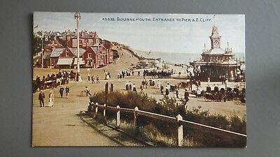 R&L Postcard: Photochrom, Bournemouth Entrance to Pier and East Cliff Unposted
