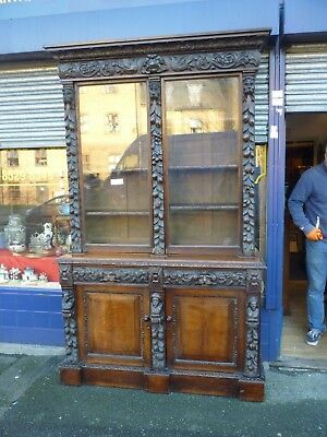 Fantastic Looking Large Victorian Carved And Glazed Double Door Bookcase