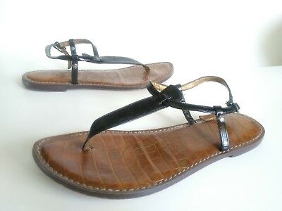 066018b0881e0f SAM EDELMAN GIGI Women s Black Leather T-Strap Thong Sandals Size ...