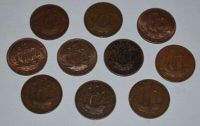 10 Pre Decimal Old British Half Pennies 1890s And Up English United Kingdom UK