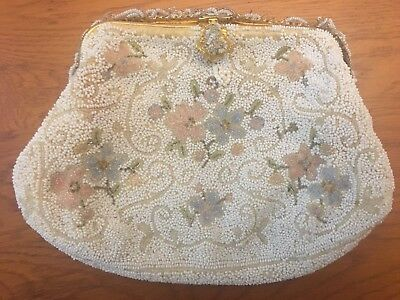 Antique Hand Beaded French Micro Bead Floral Purse