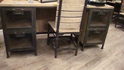 Vintage Industrial Style Writing Desk Metal And Wood Office Desk B