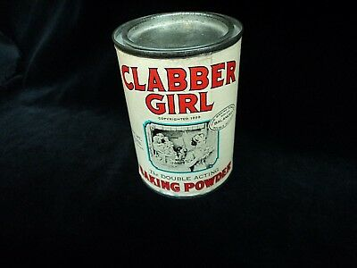 """Vintage """"clabber Girl"""" Baking Powder Tin Can  10 Oz Full Excellent Cond"""