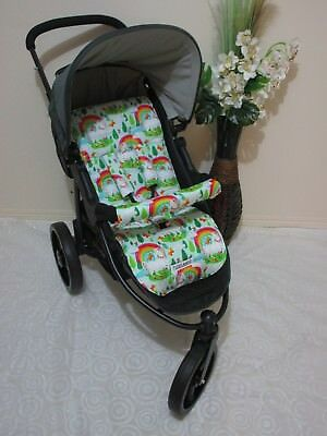 Handmade pram liner set-Unicorns/rainbows-100% cotton Funky babyz,SALE*