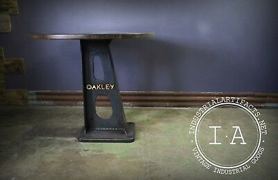 Cast Iron Base Oak Pub Table