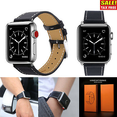 42mm Strap Band Genuine Leather Apple Watch Series 3 2 1 Wristband Black New