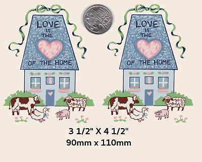 """2 Waterslide ceramic decals. 3 1/2"""" x 4 1/2"""" Country. House Love Home Heart PD7"""