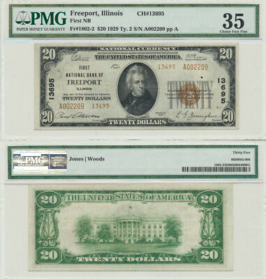 1929 Ty.2 $20 First NB Freeport,Illinois CH#13695 PMG Graded Choice Very Fine 35