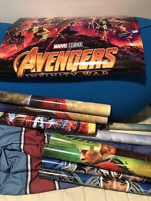 AVENGERS Marvel DS 27x40 Movie Poster Lot Of 8 Thor Spider-man Black Panther