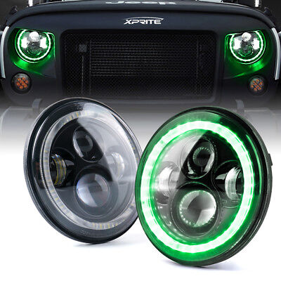 """7"""" 90W Round LED Headlights With green Halo for 97-18 Jeep Wrangler JK TJ"""