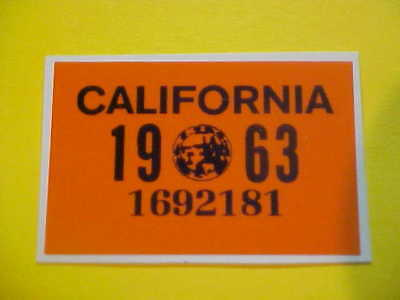 1963 california truck bingo plate sticker dot / tax