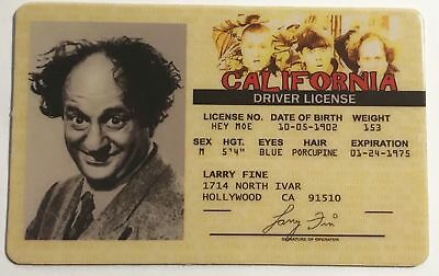 The Three Stooges - Larry Fine - Drivers License - ID Card - Novelty v2