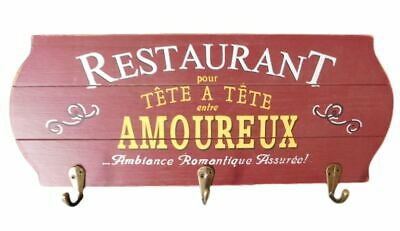 Country French Inspired Wall Art Timber Restaurant Sign with Key Hooks Wooden...