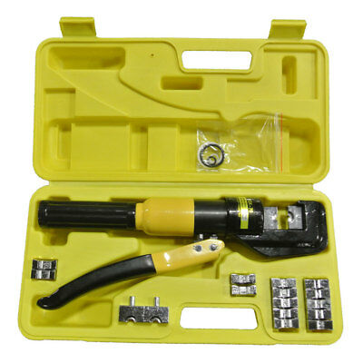 10 Ton Hydraulic Crimper Crimping Tool Battery Cable Wire Lug Terminal w/ 9 Dies